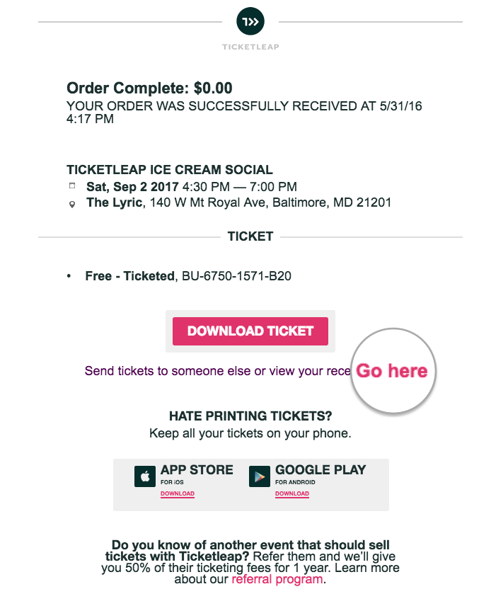how do i get a receipt for my ticket purchase ticketleap